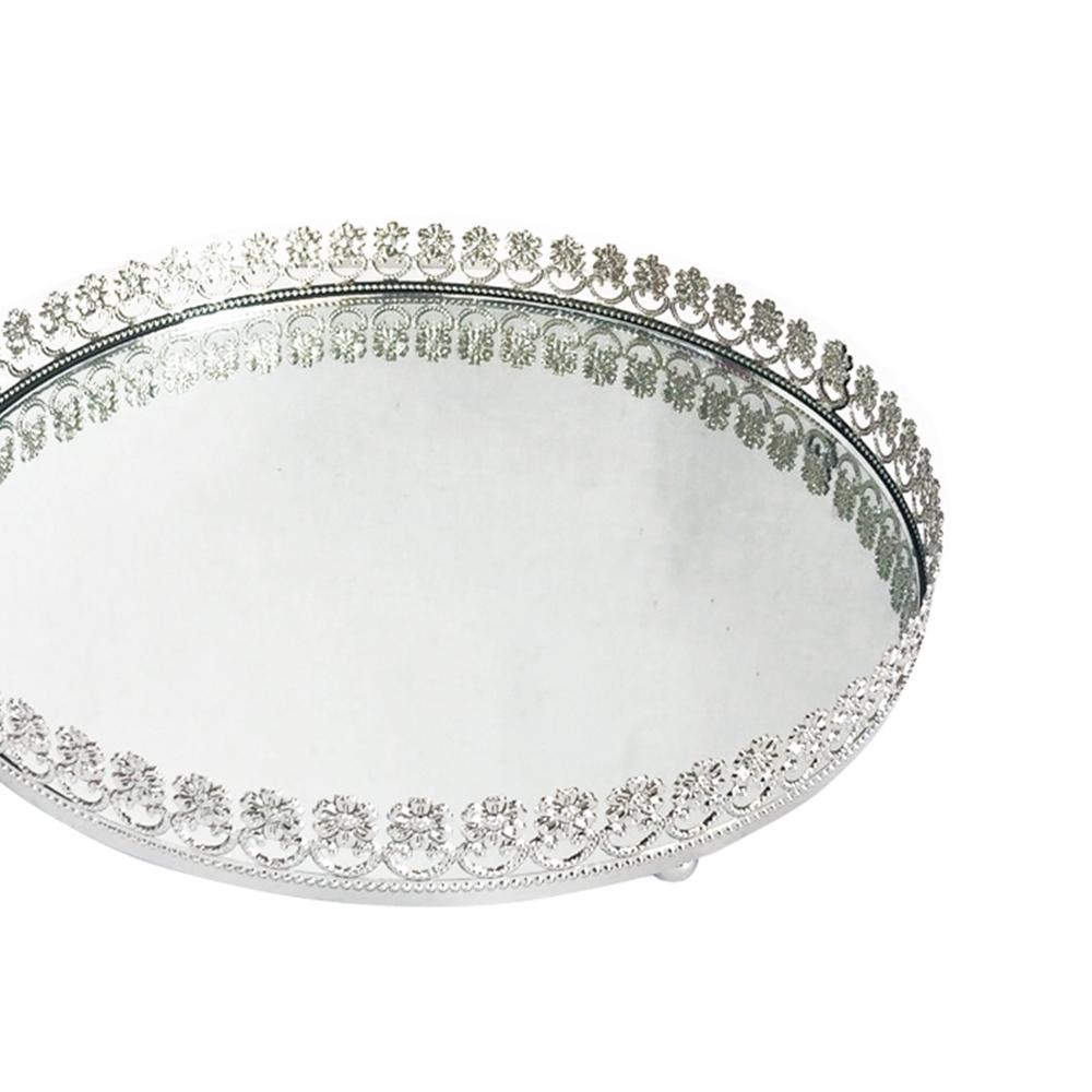 Bandeja Metal Espelho Redonda Flor Prata 26,5cm Class Home