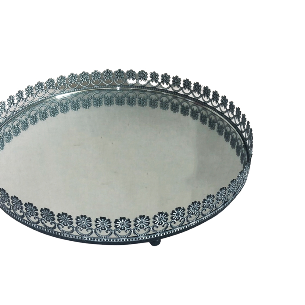 Bandeja Metal Espelho Redonda Flor Preta 26,5cm Class Home