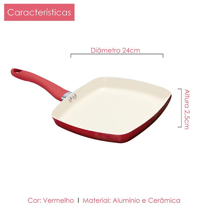 Bistequeira Cerâmica 24cm 2,5mm + Epátula 36cm Kit 2pçs