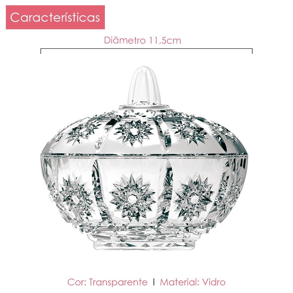 Bomboniere Vidro 11,5 cm Flor Class Home