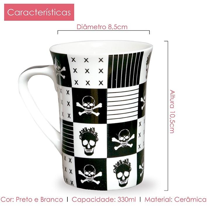 Caneca de Porcelana Fina Caveira 330ml Class Home