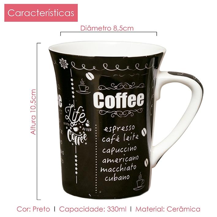 Caneca de Porcelana Fina Coffe 330ml Class Home 02 Peças