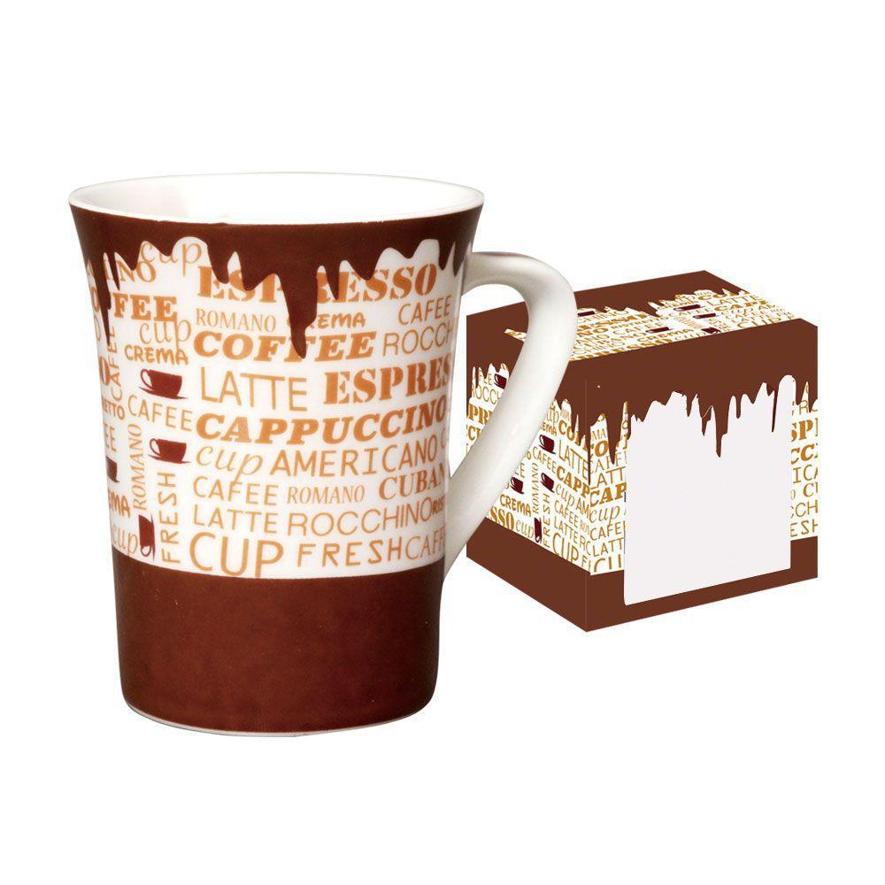 Caneca de Porcelana Fina Coffee 330ml Class Home