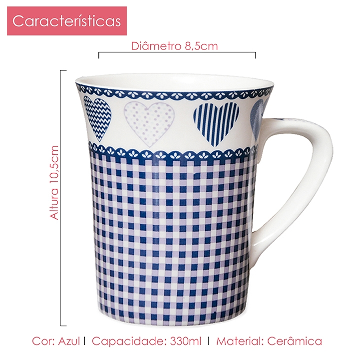 Caneca de Porcelana Fina Coração 330 ml 2 peças Class Home