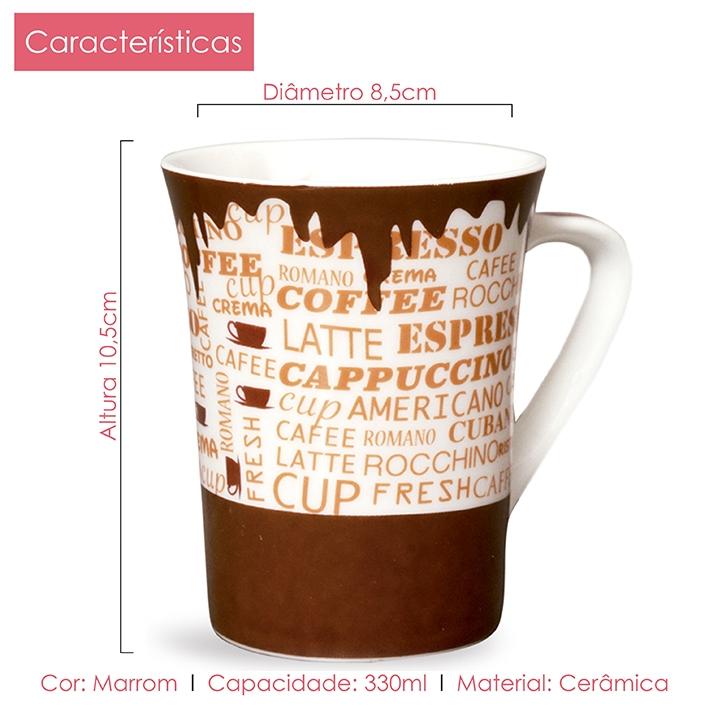Caneca de Porcelana Fina Coração Coffe 330 ml Class Home