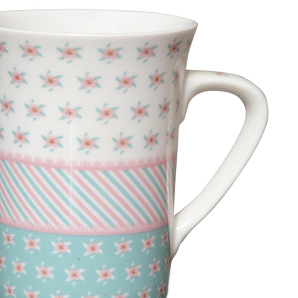 Caneca de Porcelana Fina Flor 330ml 02 peças Class Home