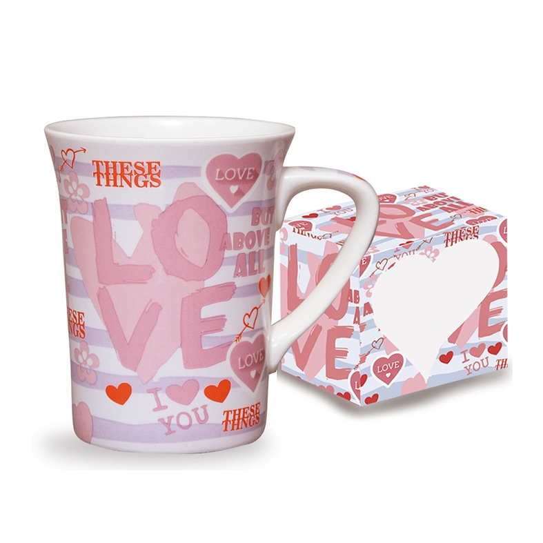 Caneca de Porcelana Fina Love 330ml Class Home