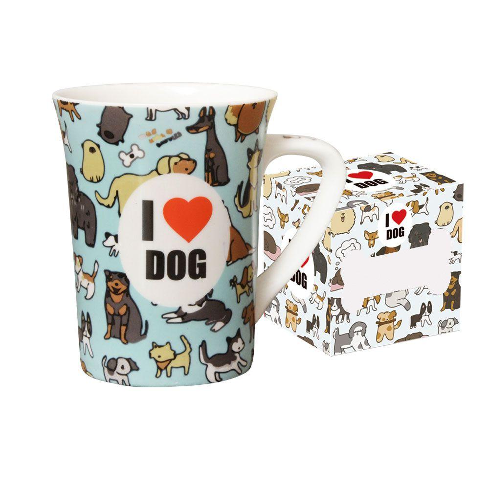 Caneca de Porcelana Fina Love Dog 330ml Class Home