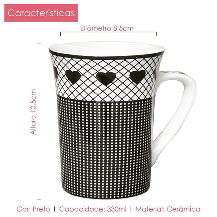 Caneca de Porcelana Fina Poá 330ml 02 peças Class Home