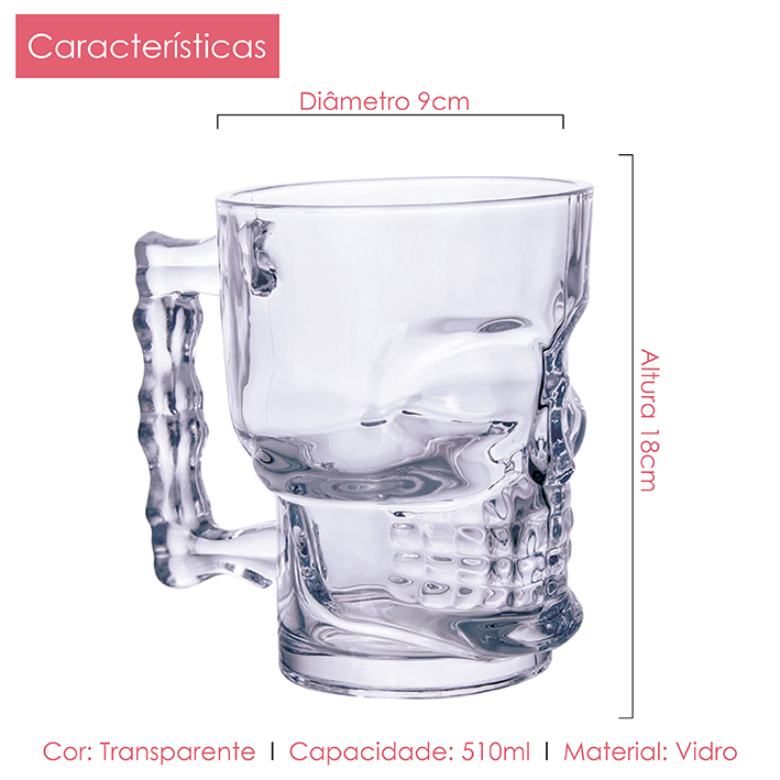 Canecas Chopp Caveira 510 ml Casamiga 6 Peças