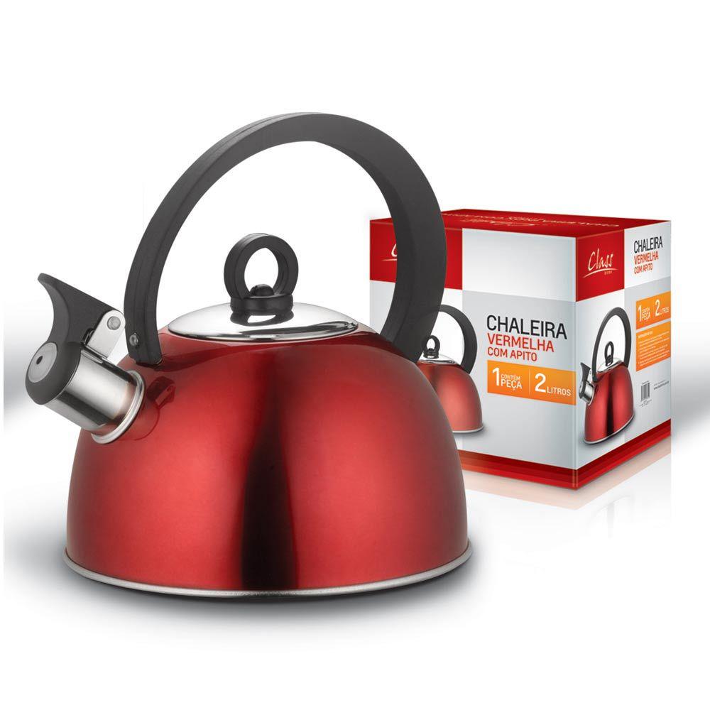 Chaleira em Inox com apito Vermelha 2 Litros CLASS HOME