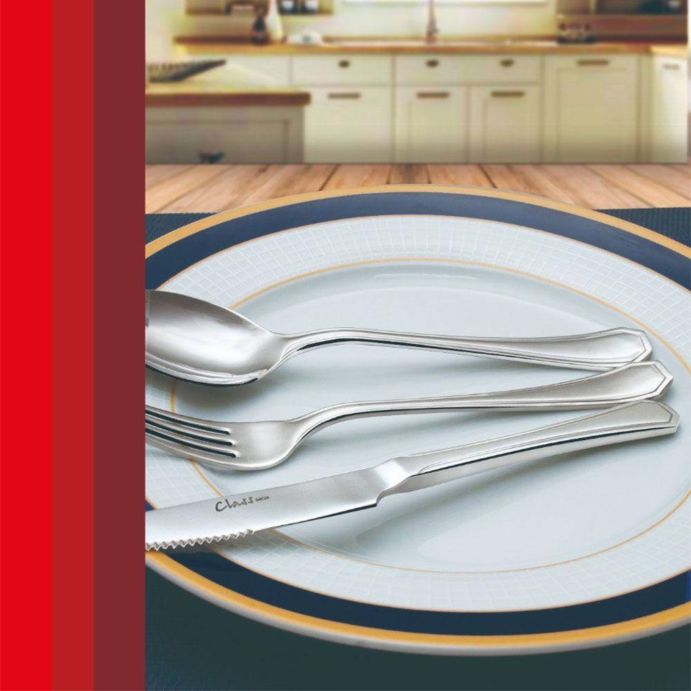 Conjunto de 12 Colheres de Sobremesa Class Inox Class Home