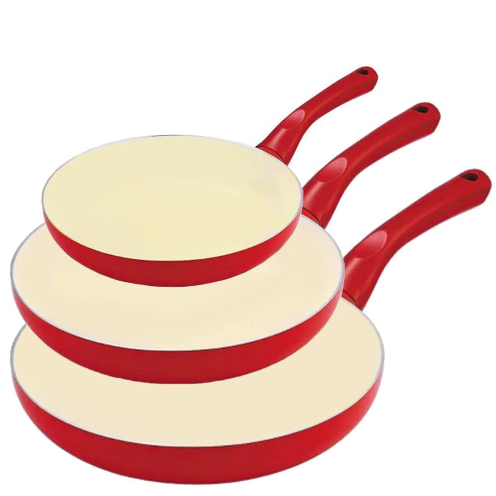 Conjunto de Frigideiras com Revestimento Cerâmico 3 peças Vermelho Class Home