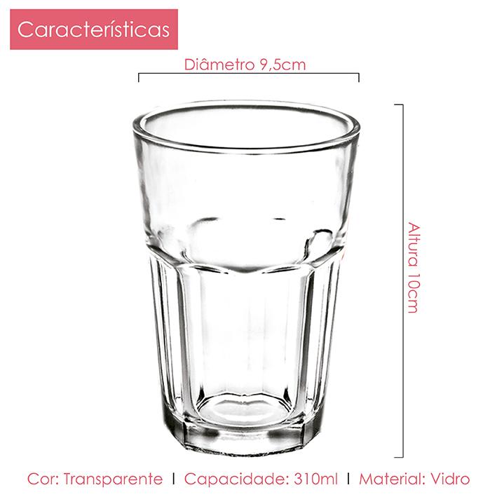 Conjunto de Jarra 1,2L + Copos Vidro 310ml Cassis Class Home