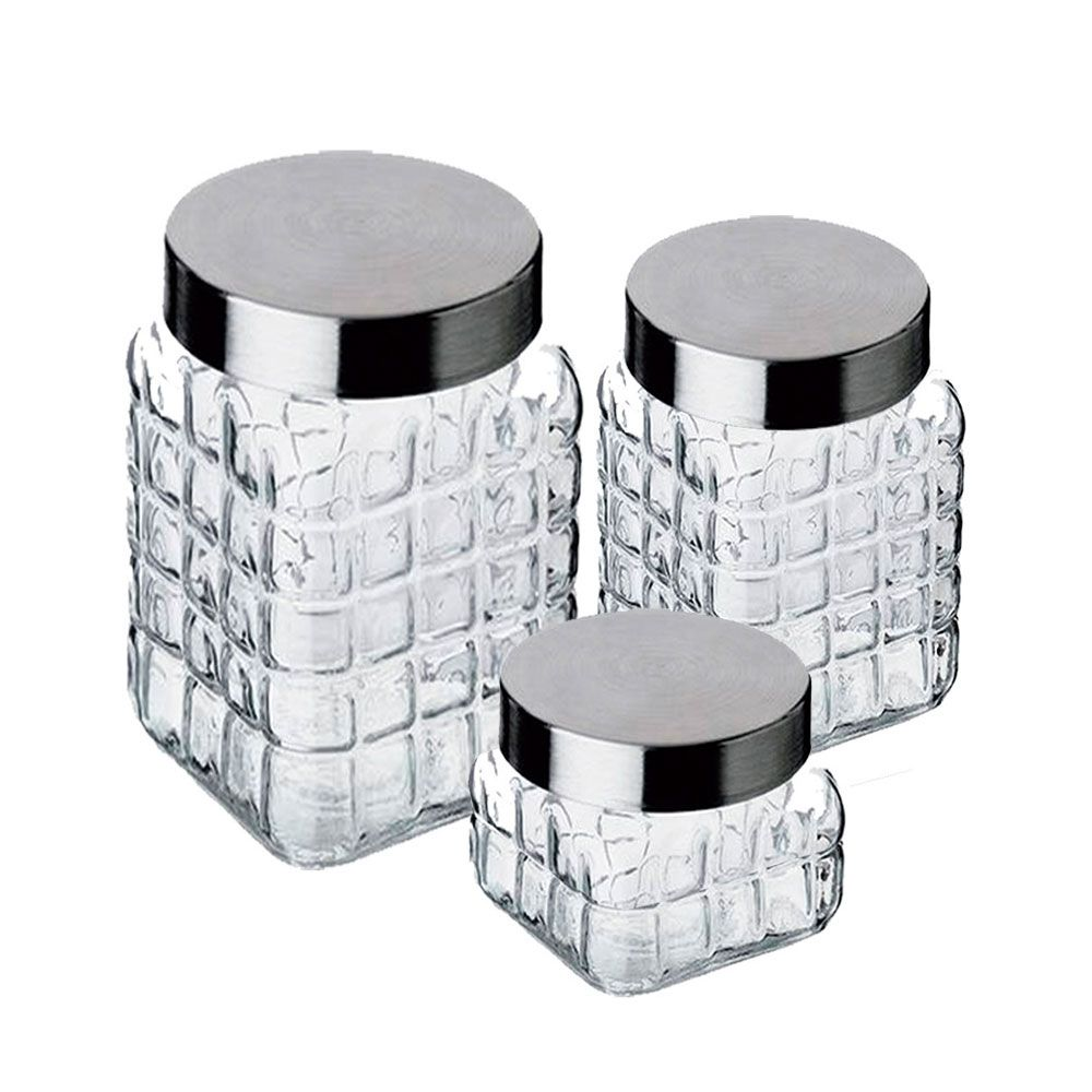Conjunto de Potes de Vidro com Tampa de Inox 3 Peças CLASS HOME