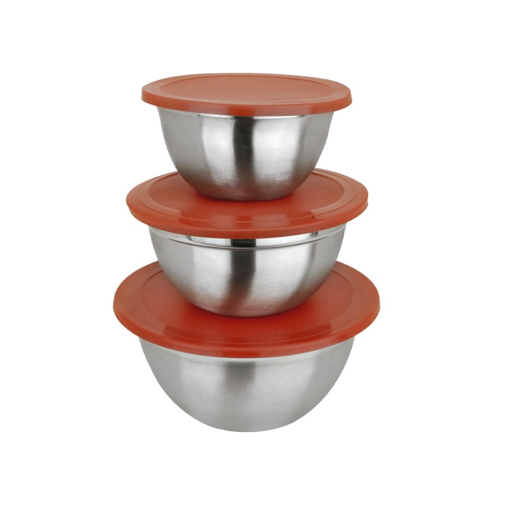 Conjunto de Potes Luxo em Inox c/ Tampa 3 Peças Class Home