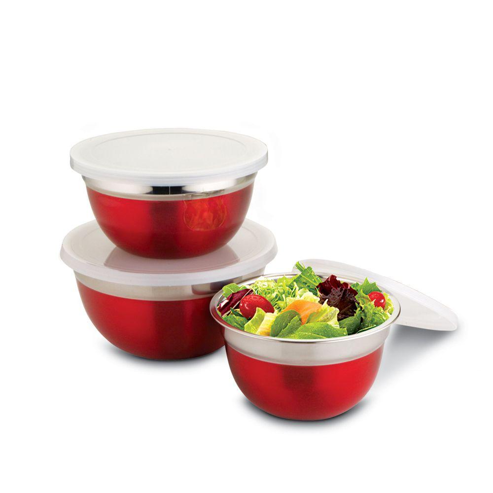 Conjunto de Potes Vermelho em Inox c/ Tampa 3 Peças Class Home
