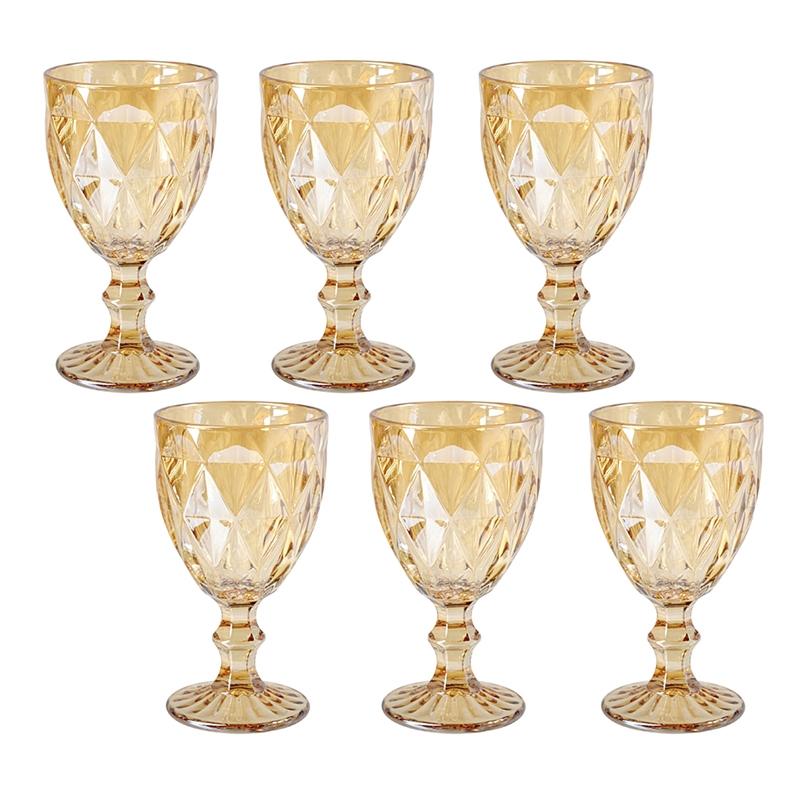 Conjunto de Taças Água Diamante Amber Metalizada 300ml 6pçs