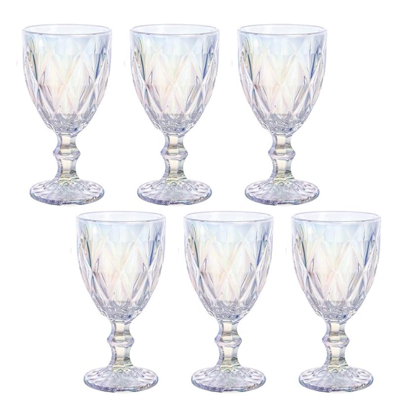 Conjunto de Taças Água Diamante Rainbow 300ml 6pçs Class Home