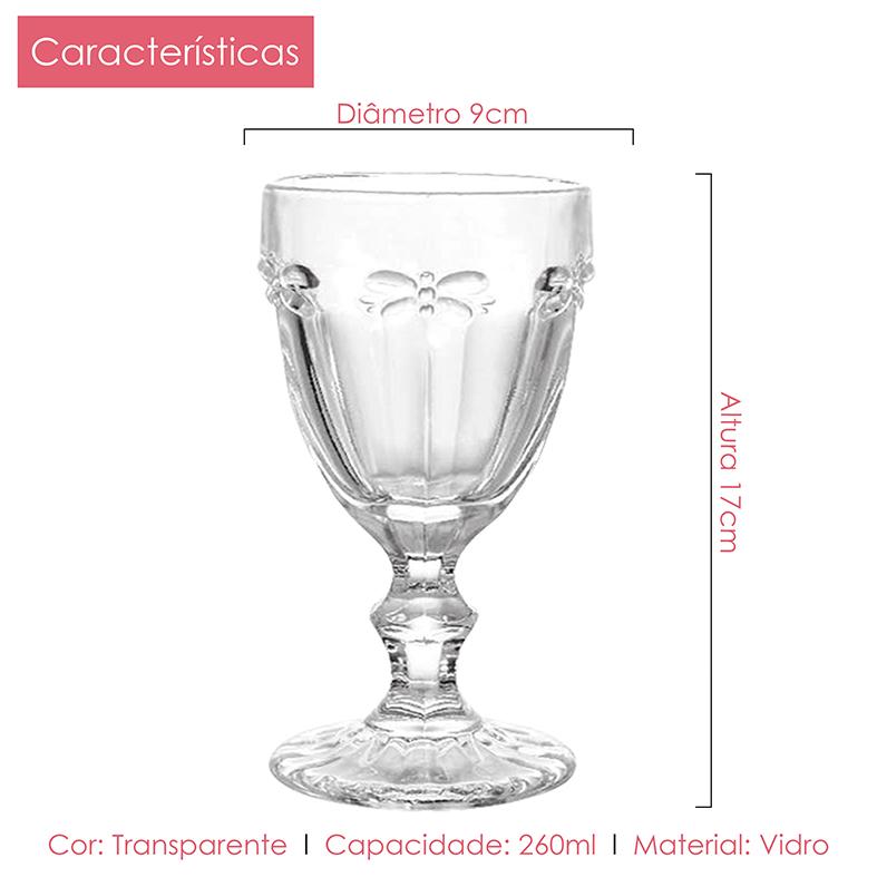 Conjunto de Taças Vidro Libélula 260ml 6pçs Class Home
