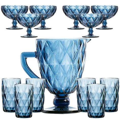 Diamante Azul Jarra + Copo + Taça Sobremesa Kit 13pçs