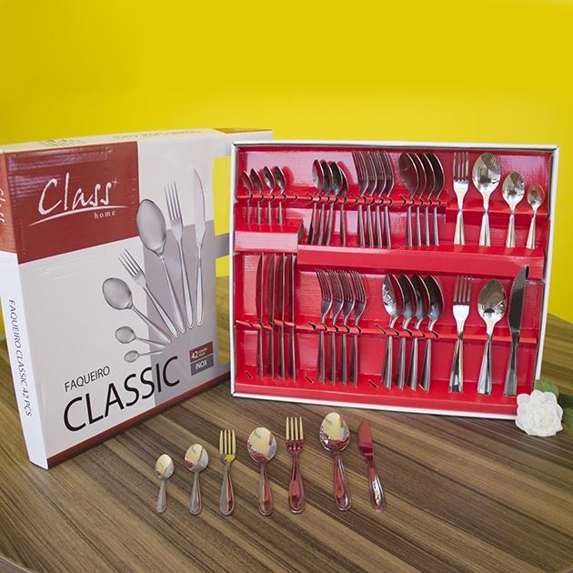 Faqueiro Linha Classic Inox 42 Pçs Faca Churrasco
