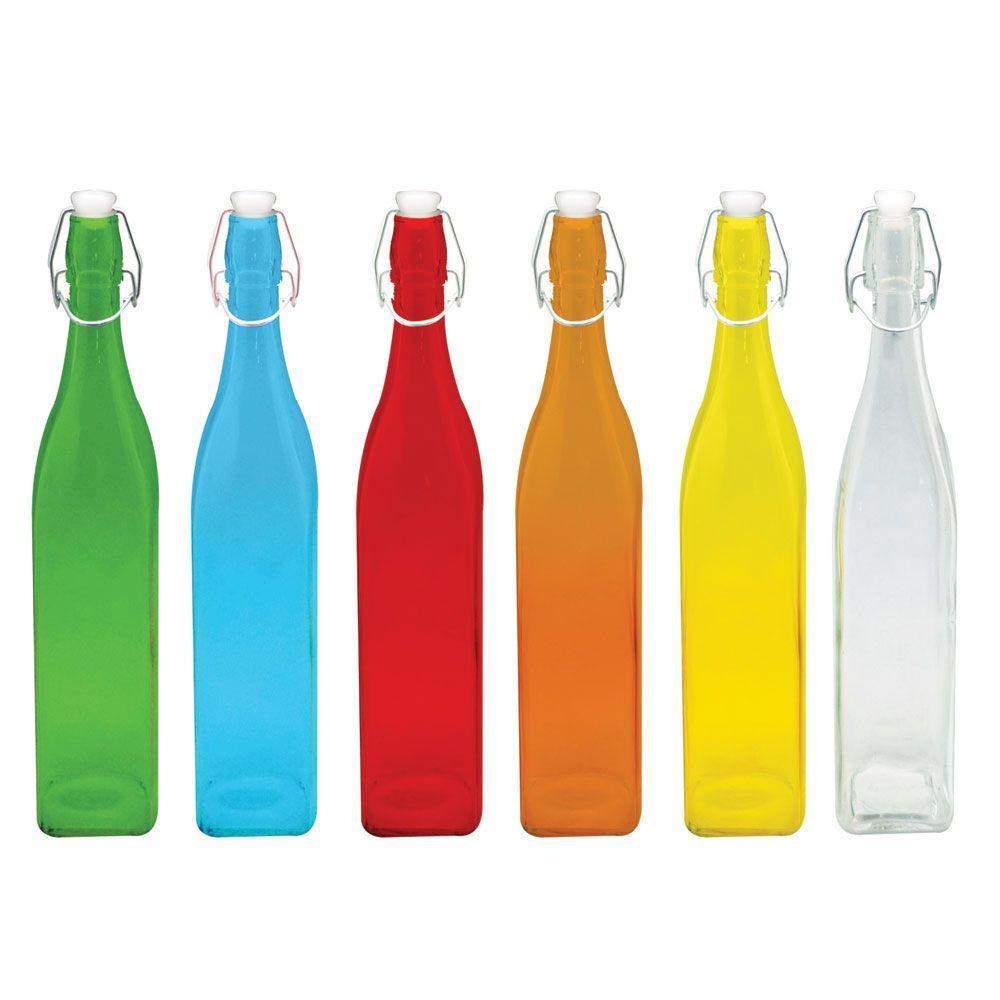 Garrafa Água 1L Colors Vidro Quadrada