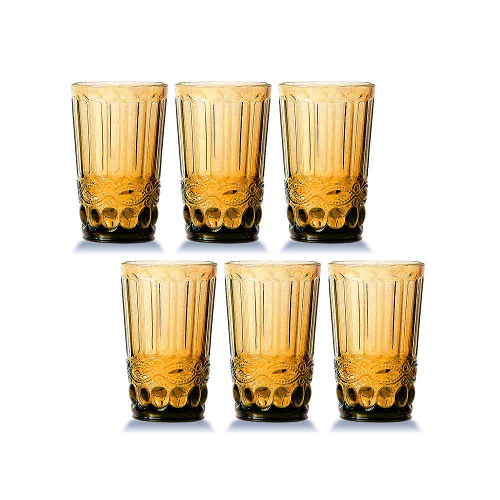 Jogo de 6 Copos Elegance Amber 350ML vidro Class Home