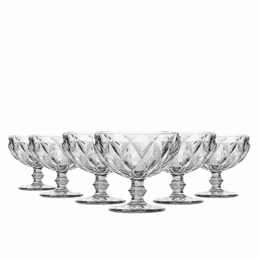 Jogo de 6 Taças Sobremesa Diamante Clear 310ML Class Home