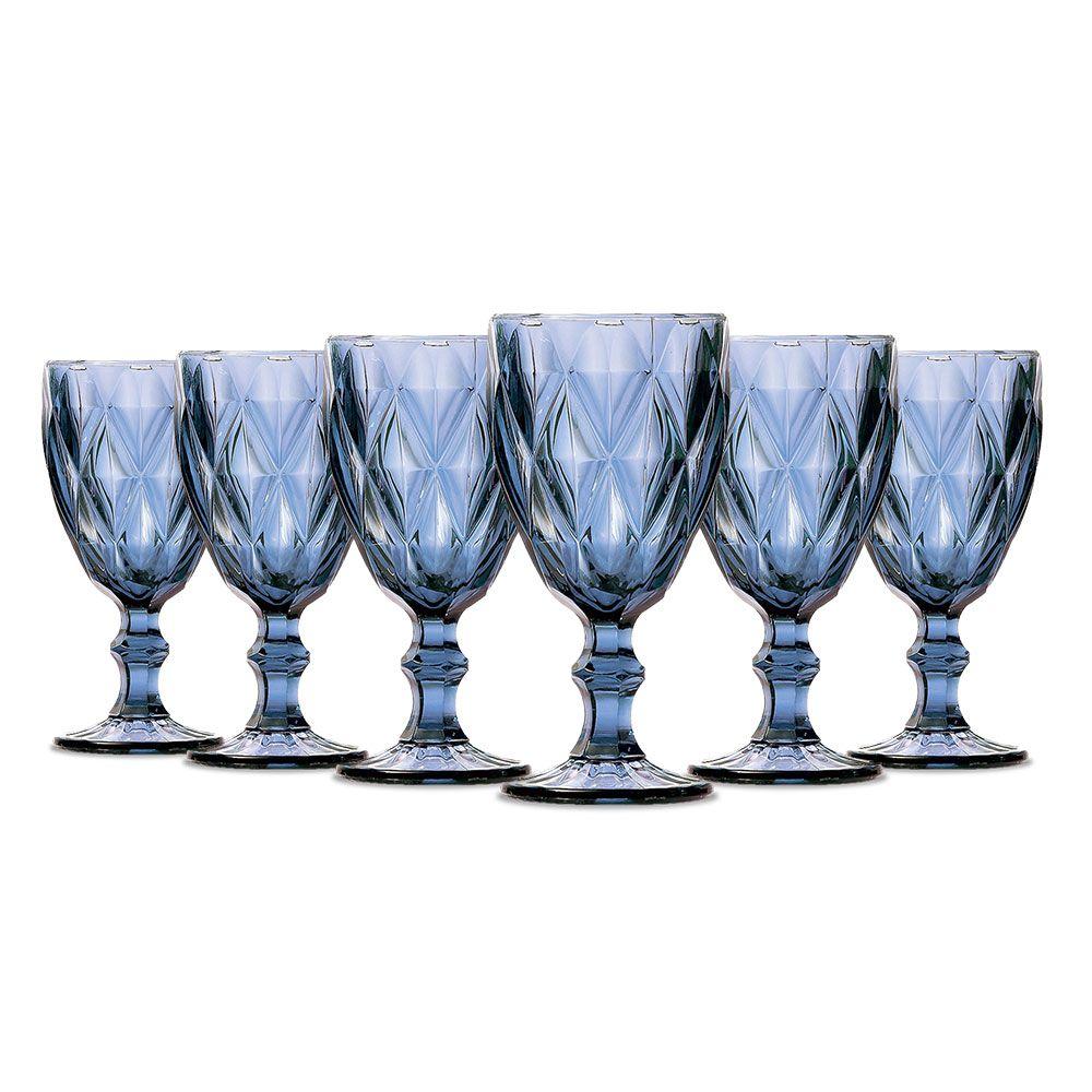 Jogo de 6 Taças Vinho Diamante Azul 210ml Class Home