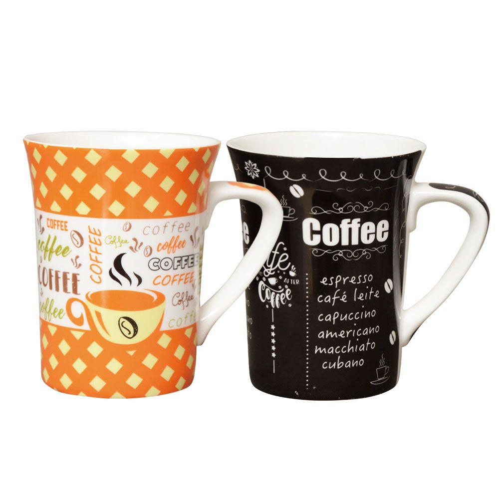 Jogo de Canecas Porcelana Fina Coffee 330ml Class Home 4 Pçs