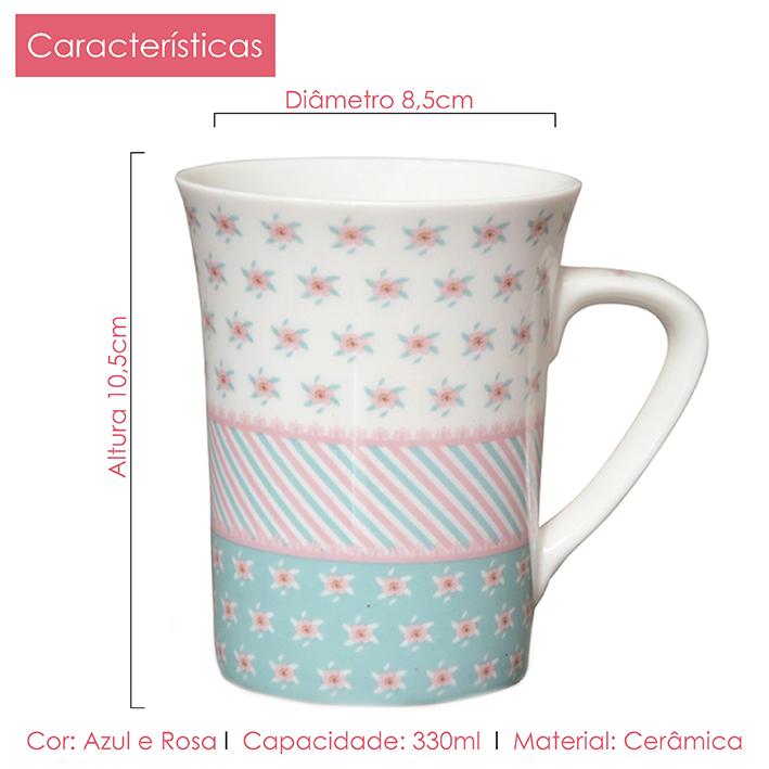 Jogo de Canecas Porcelana Fina Flor 330ml 4 peças Class Home