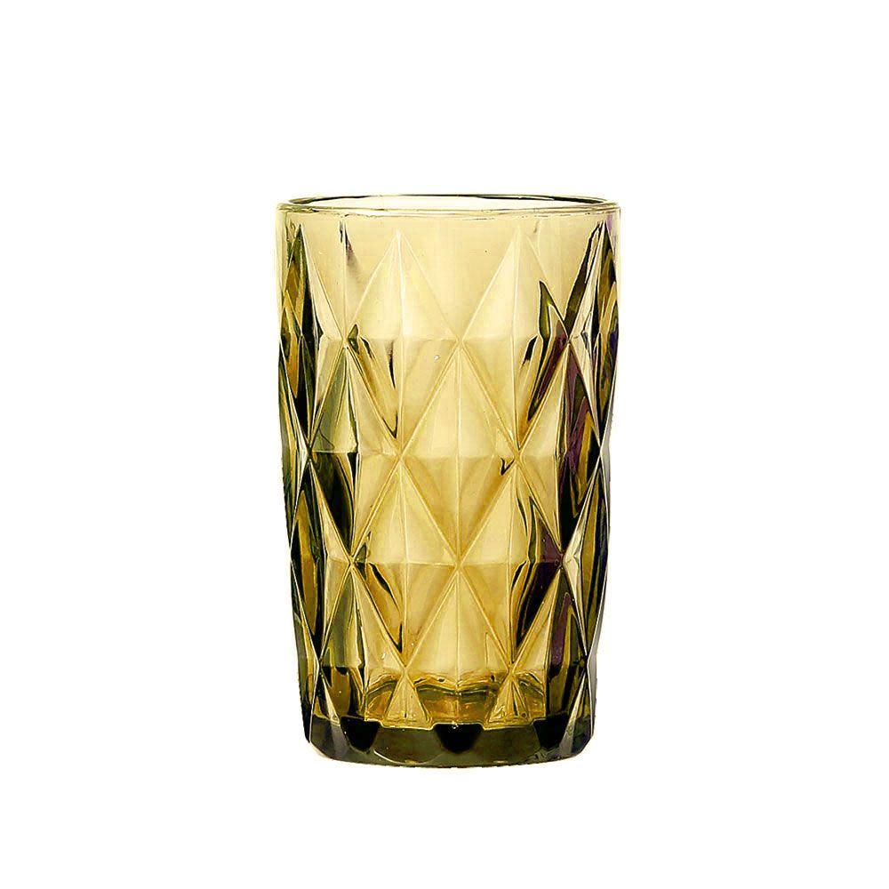 Jogo de Copos Diamante Amber 350ML vidro Class Home