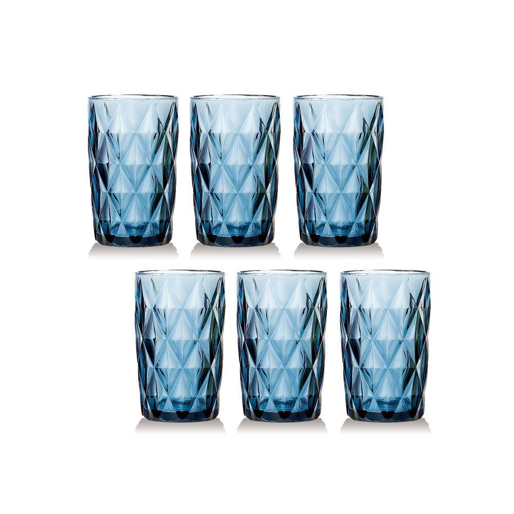 Jogo de Copos Diamante Azul 350ML vidro Class Home