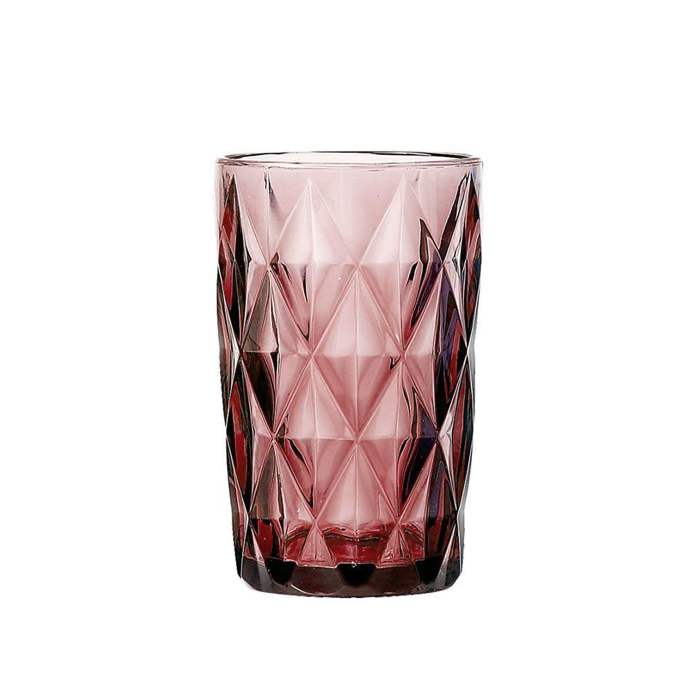 Jogo de Copos Diamante Lilás 350ML vidro Class Home