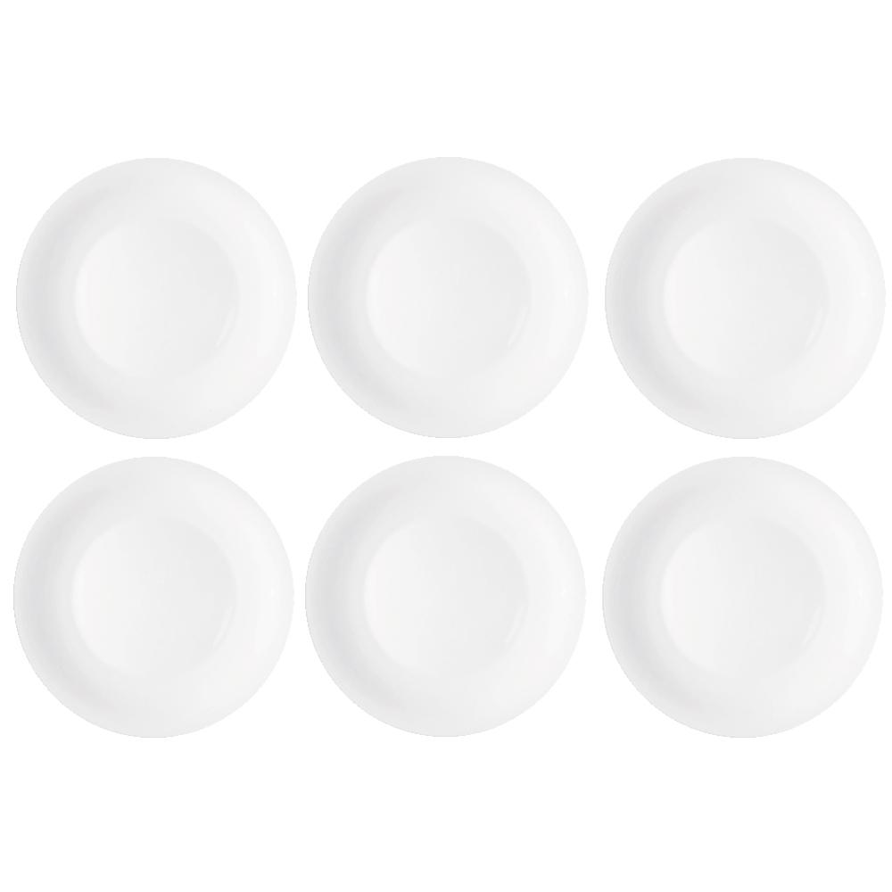 Jogo de Prato de Vidro Raso Opaline Branco 27 CM 6 Peças