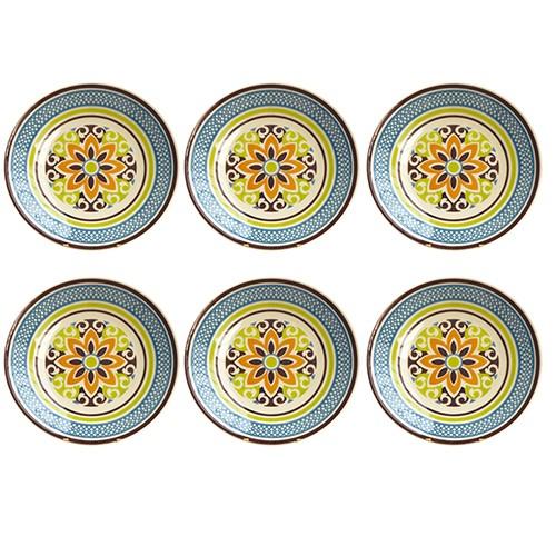 Jogo de Pratos de Sobremesa Mandala Colors 6 Peças