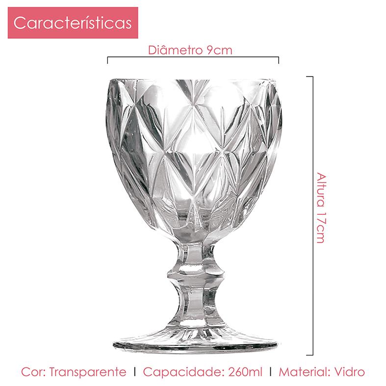 Jogo De Taça Água Diamante Clear Casamiga 12 Unidades