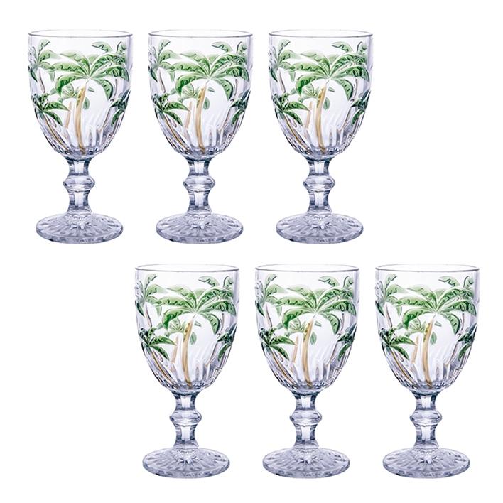 Jogo de Taças Água Palm Tree Colors 260ml Class Home 6pçs