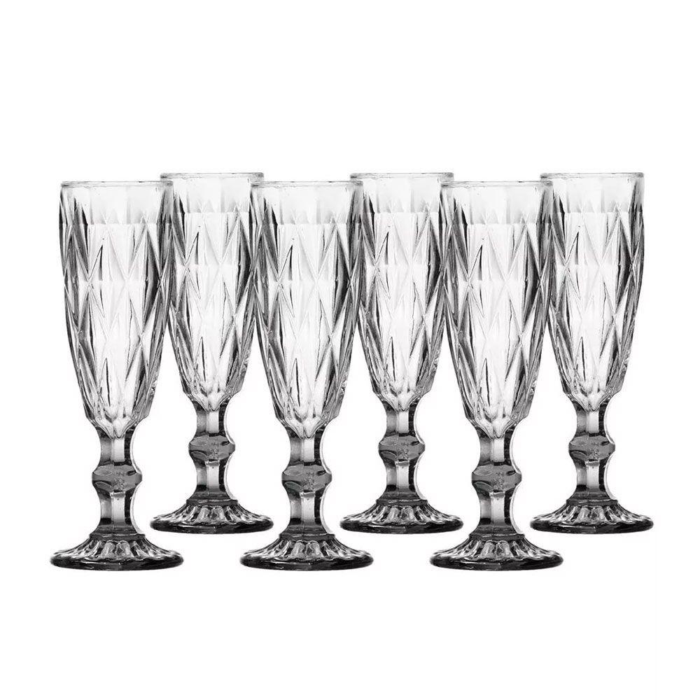 Jogo de Taças Champagne Diamante Clear 140ML Class Home