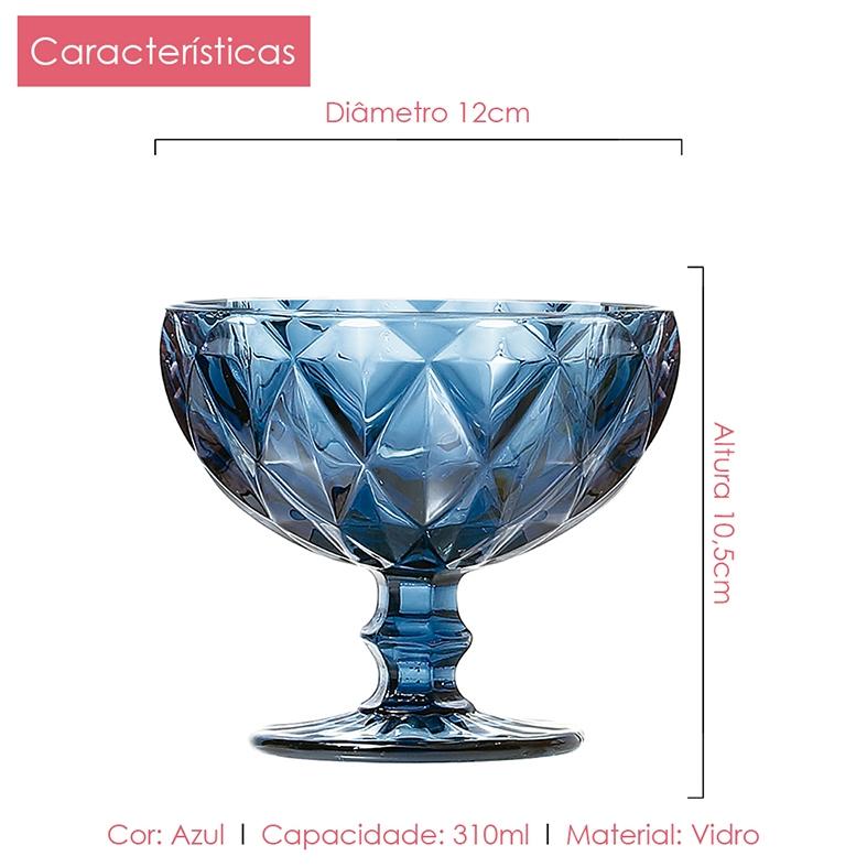 Jogo de Taças Sobremesa Diamante Azul 310 ml Class Home