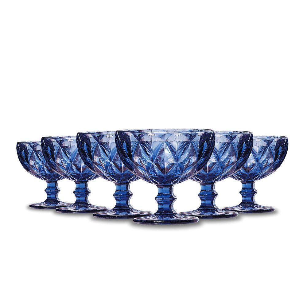Jogo de Taças Sobremesa Diamante Azul 310ml Class Home