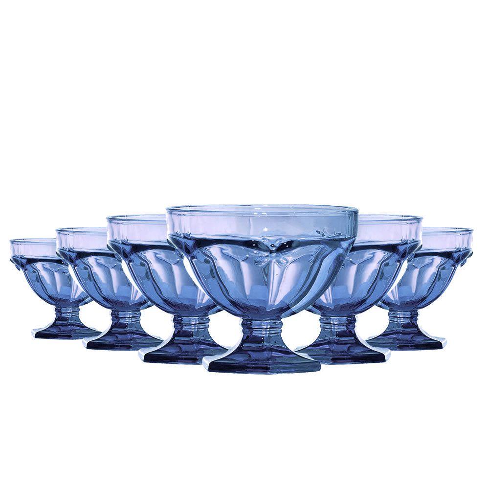 Jogo de Taças Sobremesa Libélula 310ml Vidro Azul 6 Peças