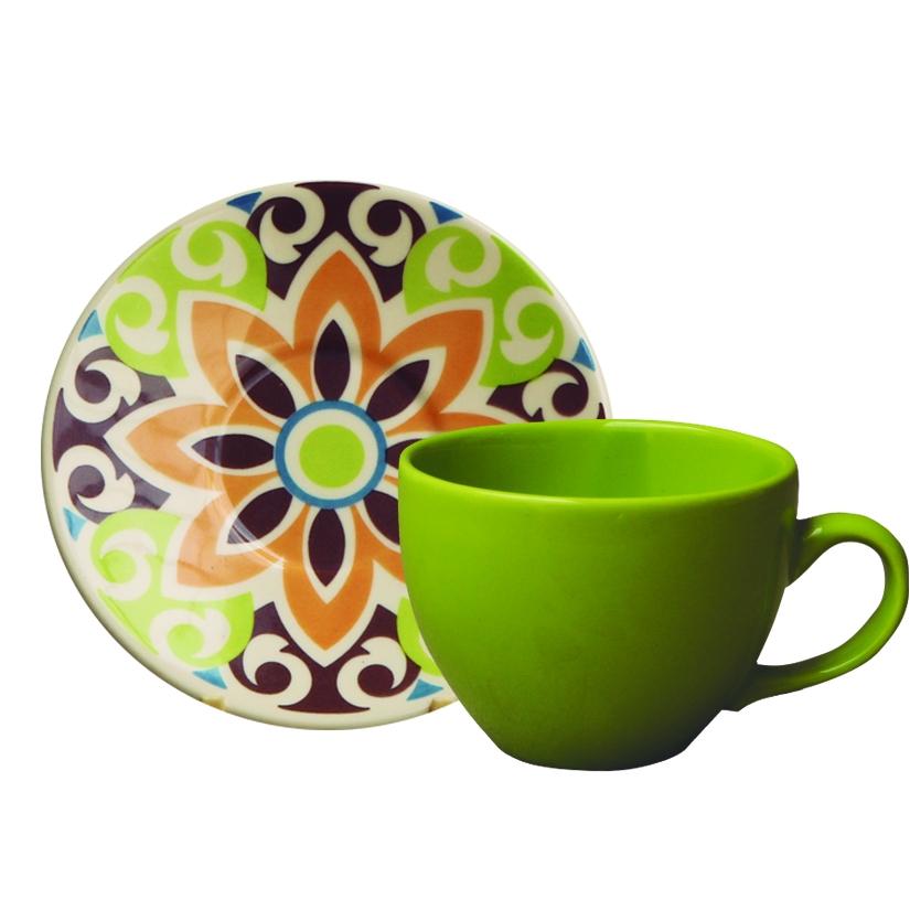 Jogo de Xícara de Chá Mandala Colors 12 pçs