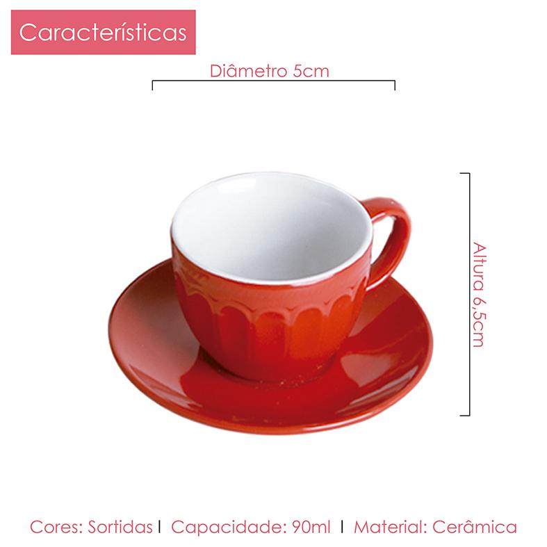 Jogo de Xícaras Café e Chá Colors Class Home 24pçs