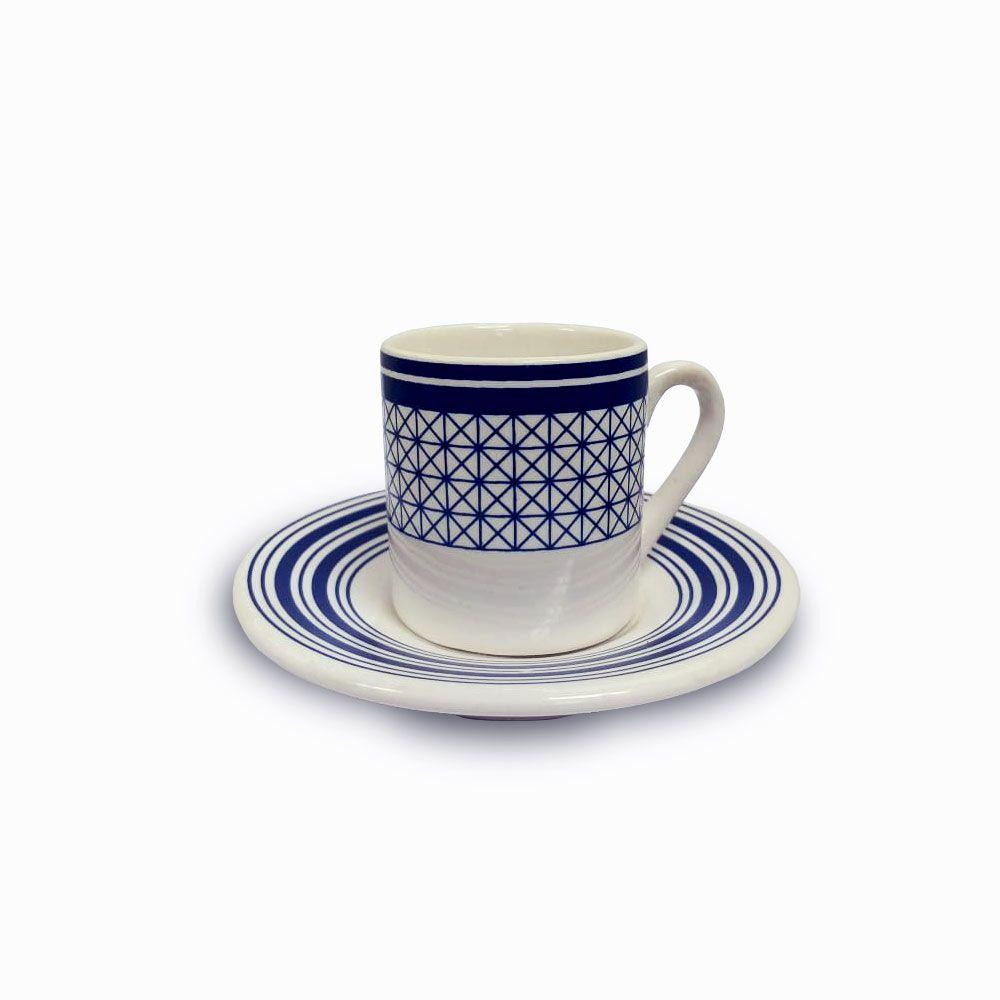 Jogo de Xícaras Café Renda Azul 12 peças Class Home
