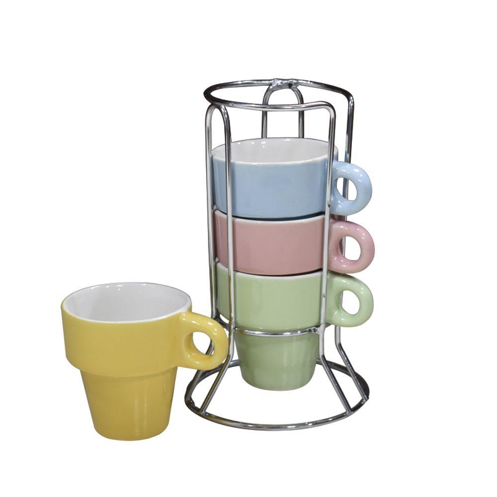 Jogo de Xícaras Chá Colors c/ suporte 5 pçs Class Home