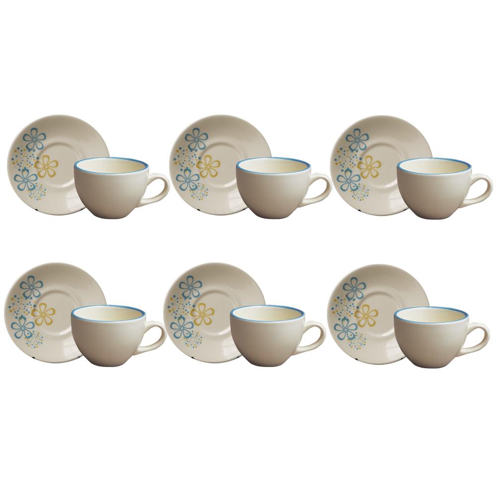 Jogo de Xícaras de Chá com Pires Burbujas 12 Peças