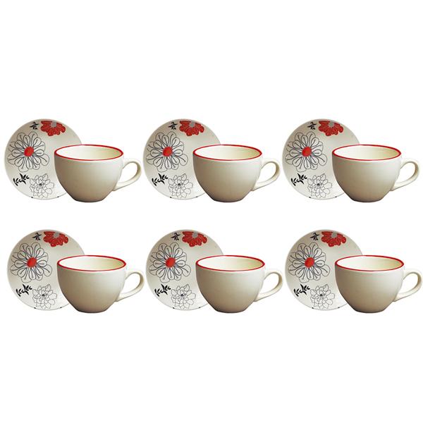 Jogo de Xícaras de Chá com Pires Gardenia 12 Peças