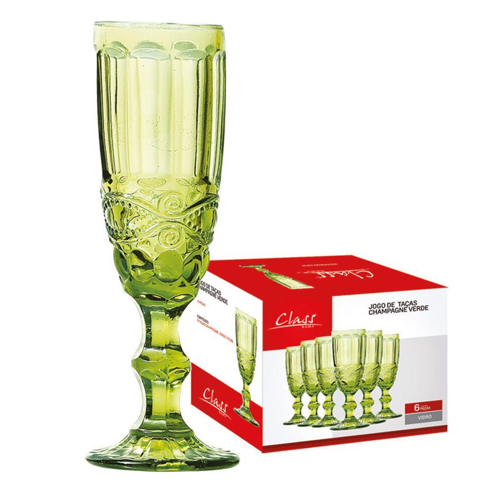 Jogo Taça Champagne Elegance 140ml Verde 6 Peças Class Home